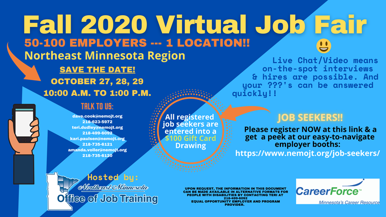 Fall 2020 Virtual Job Fair flyer